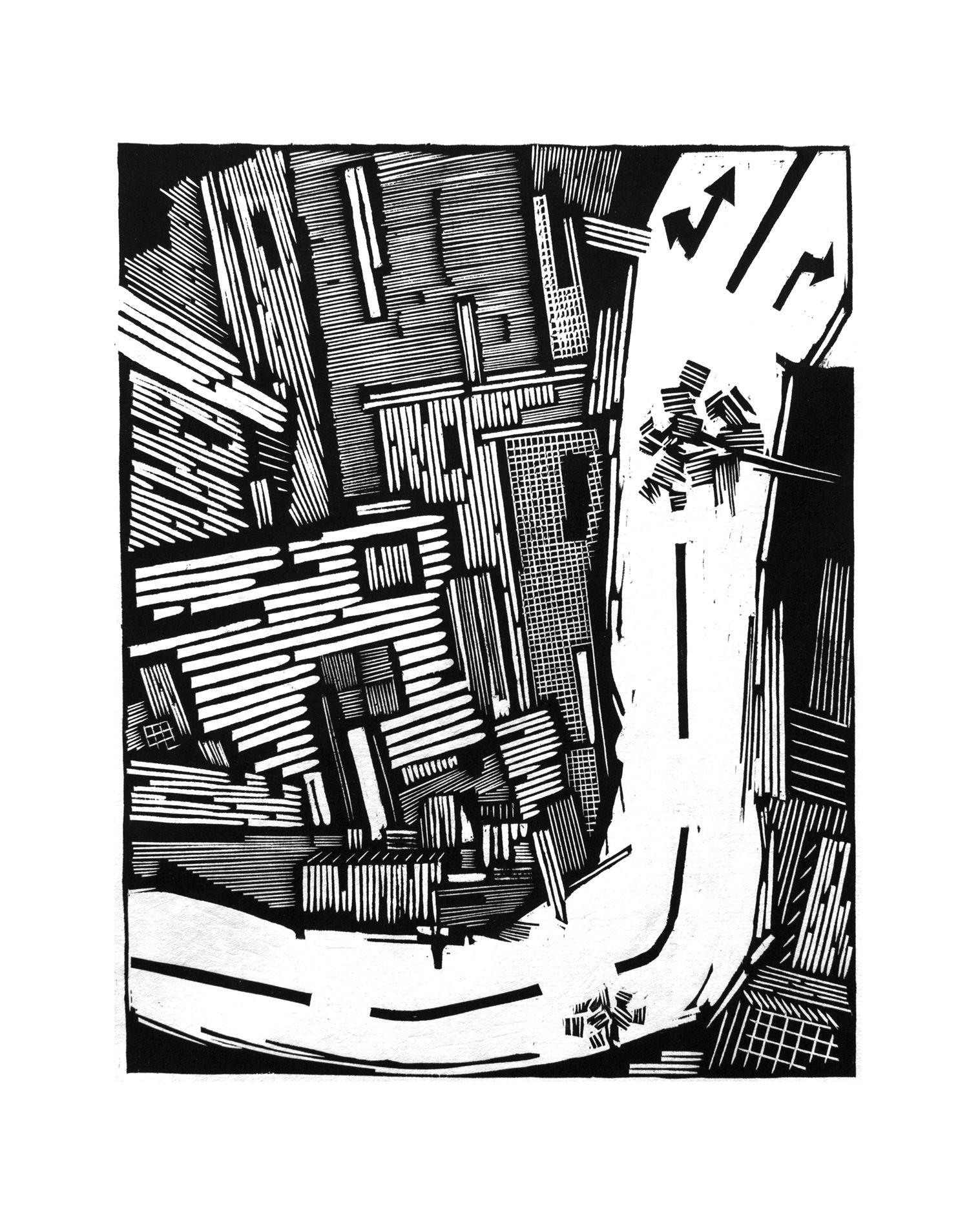 作品主要为黑白木刻版画,尺寸大小不定,整体以抽象、写意、表现绘画风格为原型,以城市建设为主题背景,以常见的楼宇、建筑施工工地的塔吊、钢筋以及未修建完工的建筑等为主要内容,来表达创作者对城市飞速变化的种种思考,希望引起观者的共鸣。